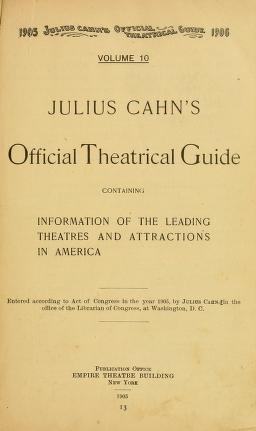 "Cover of ""Julius Cahn's official theatrical guide"""