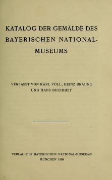 "Cover of ""Katalog der Gemälde des Bayerischen National-Museums"""