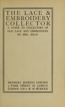 "Cover of ""The lace & embroidery collector"""