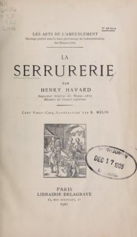 "Cover of ""La serrurerie /"""