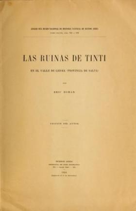 """Cover of """"Las ruinas de Tinti en el valle de Lerma (provincia de Salta)"""""""