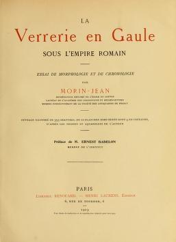 """Cover of """"La verrerie en Gaule sous l'Empire romain"""""""