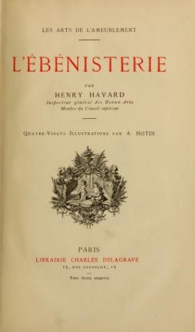 """Cover of """"L'ébénisterie"""""""