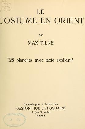 """Cover of """"Le costume en Orient"""""""