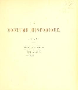 """Cover of """"Le costume historique"""""""