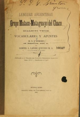 "Cover of ""Lenguas argentinas grupo mataco-mataguayo del chaco"""