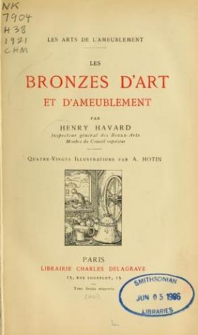 """Cover of """"Les bronzes d'art et d'ameublement"""""""