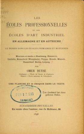 """Cover of """"Les écoles professionnelles et les écoles d'art industriel en Allemagne et en Autriche"""""""