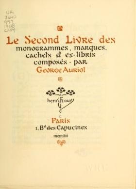 """Cover of """"Le second livre des monogrammes, marques, cachets et es libris"""""""