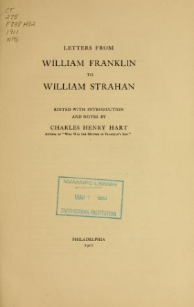 """Cover of """"Letters from William Franklin to William Strahan"""""""