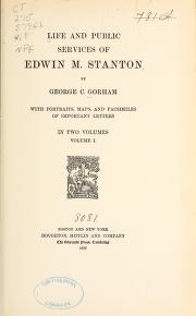 """Cover of """"Life and public services of Edwin M. Stanton"""""""