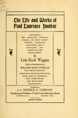 """Cover of """"The life and works of Paul Laurence Dunbar"""""""
