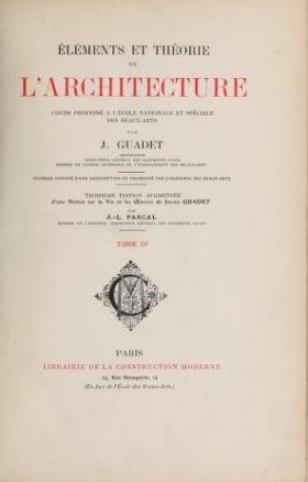 """Cover of """"Éléments et théorie de l'architecture"""""""