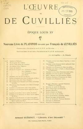 """Cover of """"L'Œuvre de De Cuvilliès"""""""