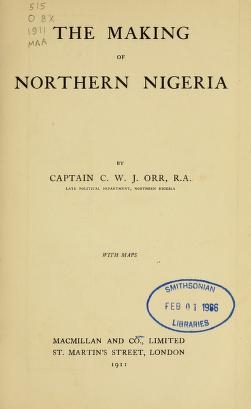 """Cover of """"The making of Northern Nigeria"""""""