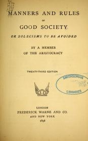 """Cover of """"Manners and rules of good society"""""""