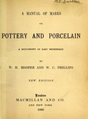 """Cover of """"A manual of marks on pottery and porcelain"""""""