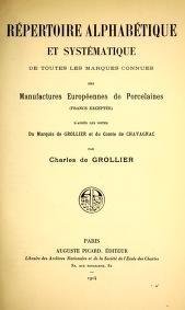 """Cover of """"Manuel de l'amateur de porcelaines manufactures européennes (France exceptée)"""""""