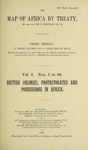 """Cover of """"The map of Africa by treaty v. 1"""""""