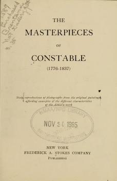 "Cover of ""The masterpieces of Constable (1776-1837)"""