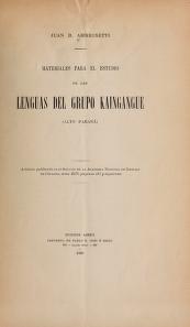 Cover of Materiales para el estudio de las lenguas del grupo Kaingangue (alto Paraná)