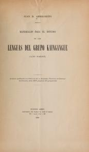 """Cover of """"Materiales para el estudio de las lenguas del grupo Kaingangue (alto Paraná)"""""""