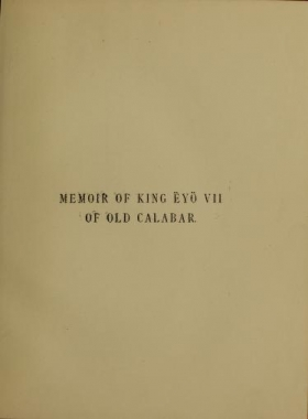 "Cover of ""Memoir of King Ëyo VII of Old Calabar"""