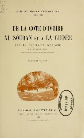 """Cover of """"Mission Hostains-d'Ollone, 1898-1900"""""""