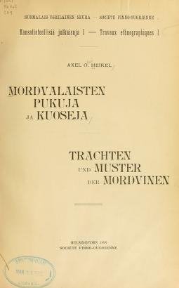 "Cover of ""Mordvalaisten pukuja kuoseja"""