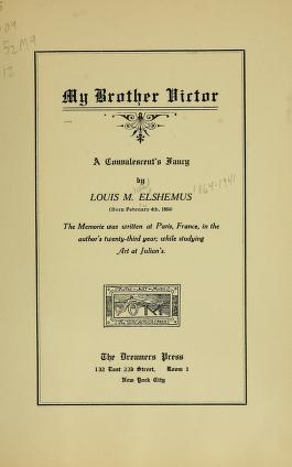 "Cover of ""My brother Victor"""