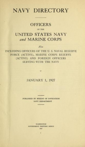 Cover of Navy directory -