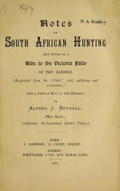 """Cover of """"Notes on South African hunting"""""""