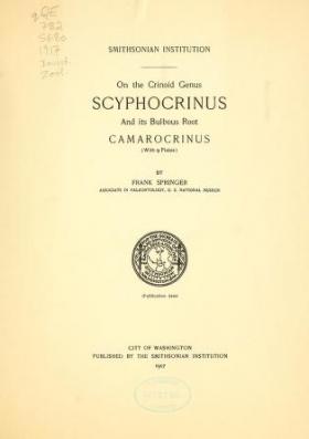 """Cover of """"On the crinoid genus Scyphocrinus and its bulbous root Camarocrinus"""""""