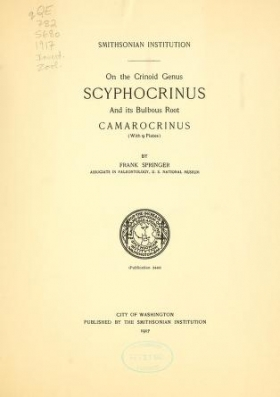 Cover of On the crinoid genus Scyphocrinus and its bulbous root Camarocrinus