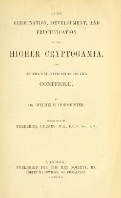"Cover of ""On the germination, development, and fructification of the higher Cryptogamia : and on the fructification of the Coniferæ /"""