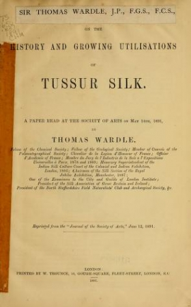 """Cover of """"On the history and growing utilisations of Tussur silk"""""""