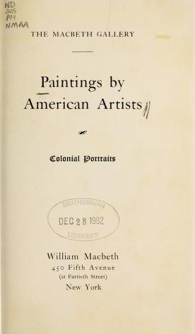"Cover of ""Paintings by American artists"""