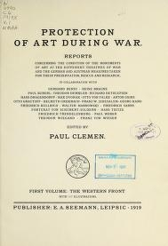 "Cover of ""Protection of art during war"""