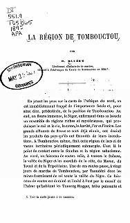 """Cover of """"La région de Tombouctou /"""""""