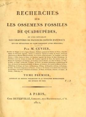 """Cover of """"Recherches sur les ossemens fossiles de quadrupèdes : où l'on rétablit les caractères de plusieurs espèces d'animaux que les révolutions du glob"""""""