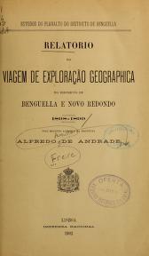 """Cover of """"Relatorio da viagem de exploração geographica no districto de Benguella e Novo Redondo, 1898-1899"""""""