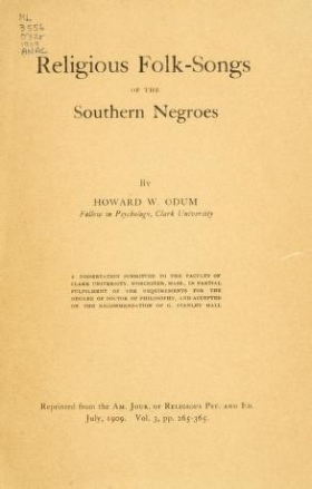 "Cover of ""Religious folk-songs of the Southern negroes /"""