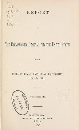 "Cover of ""Report of the commissioner-general for the United States to the International universal exposition, Paris, 1900 ... February 28, 1901"""
