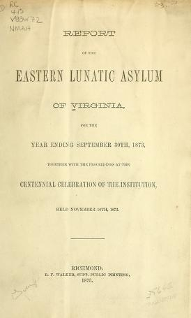 """Cover of """"Report of the Eastern Lunatic Asylum of Virginia for the year ending"""""""