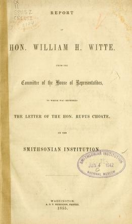 """Cover of """"Report of Hon. William H. Witte"""""""