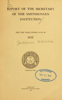 "Cover of ""Report of the Secretary of the Smithsonian Institution"""