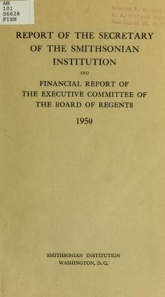"""Cover of """"Report of the Secretary of the Smithsonian Institution and financial report of the Executive Committee of the Board of Regents for the year ending June 30"""""""