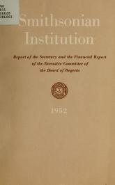 "Cover of ""Report of the Secretary of the Smithsonian Institution and financial report of the Executive Committee of the Board of Regents for the year ending June 30"""
