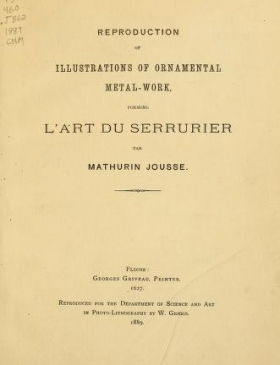 """Cover of """"Reproduction of illustrations of ornamental metal-work"""""""