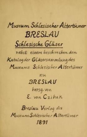 """Cover of """"Schlesische gläser"""""""